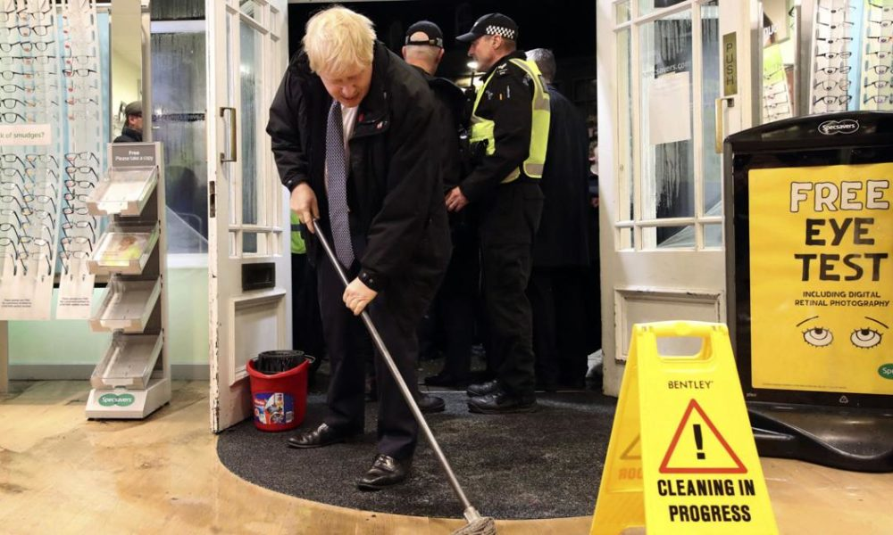 Boris Johnson – Floods become UK election issue as parties spar over funding